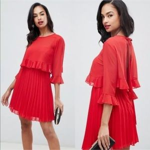 ASOS Double Layer Pleated Mini Dress Red Size 4